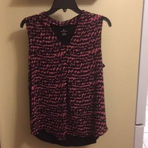 Pink/black silky sleeveless top